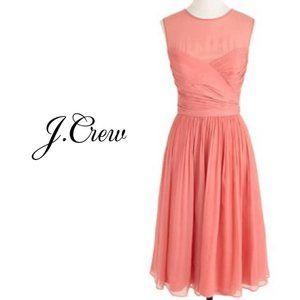 NWT J.CREW 100% Silk Chiffon Clara Coral Dress 6
